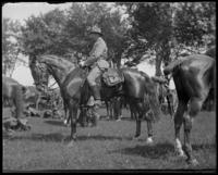 Capt. Rasquin on horseback, Creedmoor Rifle Range, Queens Village, Queens, N.Y., June 28, 1902.