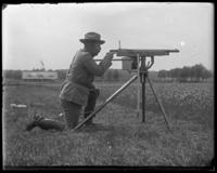Capt. Rasquin sighting a 3rd Battery Colt automatic rifle, Creedmoor Rifle Range, Queens] Village, Queens, N.Y., June 28, 1902.