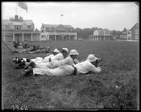 9th Regiment guardsmen and unidentified sailors firing at targets, Creedmoor Rifle Range, Queens Village, Queens, N.Y., August 13, 1904.