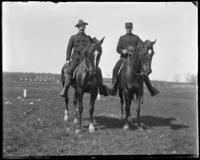 Colonel [Lieutenant-Colonel?] Nathaniel Blunt Thurston and Captain Hegeman on horseback, Creedmoor Rifle Range, Queens Village, Queens, N.Y., undated [c.1900-1904].