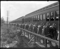 22nd Regiment troops boarding the train, State Camp (Camp Smith), Peekskill, N.Y., June 13, 1903.