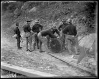 2nd Battalion stringing electric wires, State Camp (Camp Smith), Peekskill, N.Y., September 5-7, 1903.