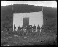 Group of 2nd Battalion men standing in front of a target, State Camp (Camp Smith), Peekskill, N.Y., September 5-7, 1903.