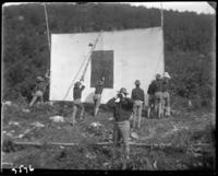 Group of 2nd Battalion men putting up a target, State Camp (Camp Smith), Peekskill, N.Y., September 5-7, 1903.