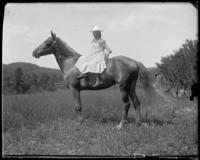 Edith Maynard on a horse, Garrison, N.Y., 1902.
