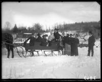 Unidentified family in a horse-drawn sled, Garrison, N.Y., March 18, 1906. Giles, Ferdie, Will McCoy and Gussie visible.