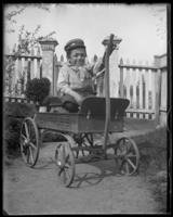 Unidentified dwarf man in a toy wagon, Bronx, N.Y., undated [c. 1897].
