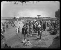 Bathers on the beach, Orchard Beach, Bronx, N.Y., 1907.