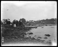 Rowboats on a rocky beach, Orchard Beach, Bronx, N.Y., 1907.