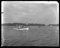 Unidentified group in a motor launch, Orchard Beach, Bronx, N.Y., 1907.
