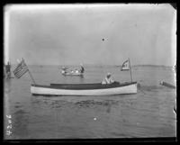 Unidentified man in a motor launch, Orchard Beach, Bronx, N.Y., 1907.