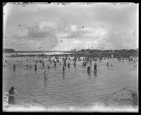 Bathers on the beach, Orchard Beach, City Island, Bronx, N.Y., 1908.