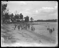 Bathers on the beach, Orchard Beach, Bronx, N.Y., 1910.