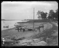 Sailboat on the beach, Orchard Beach, Bronx, N.Y., 1910.