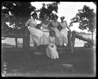 Group of unidentified young women, including Grace Stonebridge (bottom center), Orchard Beach, Bronx, N.Y., 1910.