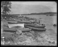 Boats on the shore, Orchard Beach, Bronx, N.Y., 1907.