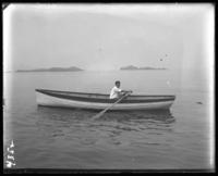 Willie Stonebridge in a row boat, Orchard Beach, Bronx, N.Y., 1907.