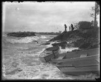 Rough water swamping the boats, Orchard Beach, Bronx, N.Y., 1907.