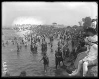 Bathers on the beach, Orchard Beach, Bronx, N.Y., 1912.