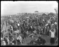 Bathers on the beach, Orchard Beach, Bronx, N.Y., 1915.