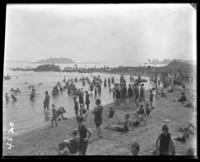 Bathers on the beach, Orchard Beach, Bronx, N.Y., 1914.