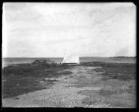 Lone tent on the beach, Orchard Beach, Bronx, N.Y., undated [c. 1900-1914].