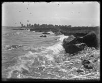Waves breaking on the rocks, Orchard Beach, Bronx, N.Y., 1911.