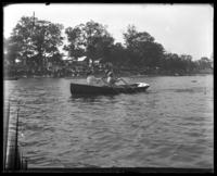 Two unidentified women in a rowboat, Orchard Beach, Bronx, N.Y., 1909.