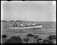 The Stonebridge family in the rowboat Grace Adele, Orchard Beach, Bronx, N.Y., 1911.