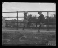 Georgie and Willie sitting on the railing above the Park Avenue Cut, Bronx, N.Y., 1903.