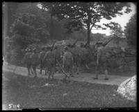 7th Regiment men hiking on a country road, State Camp (Camp Smith), Peekskill, N.Y., June 16, 1905.