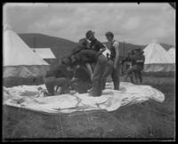 22nd Battalion men putting up a tent, State Camp (Camp Smith), Peekskill, N.Y., June 13, 1903.