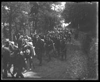 Men of the 22nd Battalion marching through the woods, State Camp (Camp Smith), Peekskill, N.Y., June 13, 1903.