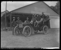 Unidentified 22nd Battalion men in a car, State Camp (Camp Smith), Peekskill, N.Y., June 13, 1903.