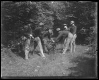 Second Battery men setting wire, State Camp (Camp Smith), Peekskill, N.Y., September 5-7, 1903.