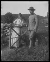 Daisy and an unidentified young man in uniform [her husband?], Garrison, N.Y., undated [c. 1910-1915].