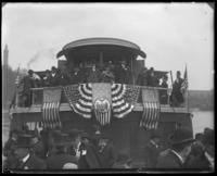 The upper deck of the excursion boat 'Fulton Market,' decorated for the Congressional Rivers & Harbors Committee visit to New York City, May 5 or 6, 1903.