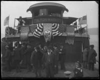 Aboard the excursion boat 'Fulton Market,' during the Congressional Rivers & Harbors Committee visit to New York City with the North Side Board of Trade, May 5 or 6, 1903.