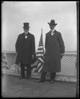 Unidentified officials on the deck of the 'Fulton Market' during the Congressional Rivers & Harbors Committee visit to New York City with the North Side Board of Trade, May 5 or 6, 1903.