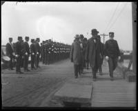Unidentified officials reviewing troops during the Congressional Rivers & Harbors Committee visit to New York City, May 5 or 6, 1903.