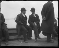 Rep. Stephen M. Sparkman and unidentified congressman conversing, New York City, May 5 or 6, 1903.