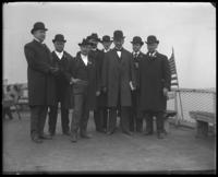 Unidentified officials [probably the Committee on Rivers and Harbors] on the deck of the 'Fulton Market' during the Congressional Rivers & Harbors Committee visit to New York City, May 5 or 6, 1903.