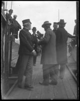 Members of the North Side Board of Trade and the Congressional Committee on Rivers and Harbors embarking on the 'Fulton Market' at Fort Totten, Queens, May 5 or 6, 1903.