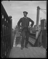 Unidentified man at the Tremont train station, Bronx, N.Y. [?], undated [c. 1910?].