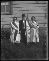 George E. Stonebridge with Grace and an unidentified teenage girl dressed for a festival, Bronx, N.Y., undated [c. 1910].