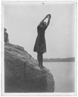 Grace Stonebridge about to dive off a rock, Orchard Beach, Bronx, N.Y., 1910.
