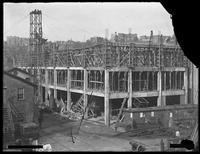 Tietjen and Lang Dry Dock Company storehouse and office building under construction, Hoboken, N.J., undated (ca. September 1919). Photographed for G.E. Tilt & Company. Broken negative.