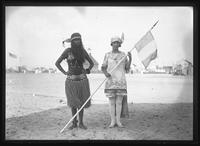 Two unidentified young women in fancy dress on the beach, undated (ca. September 1917).