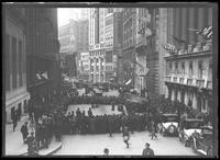 Elephants performing on Wall Street in a parade for United War Works, New York City, undated [ca. November 1918].