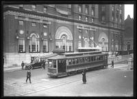 New York Railway streetcar at E. 34th Street and Fourth Avenue, New York City, undated [ca. April 1919].